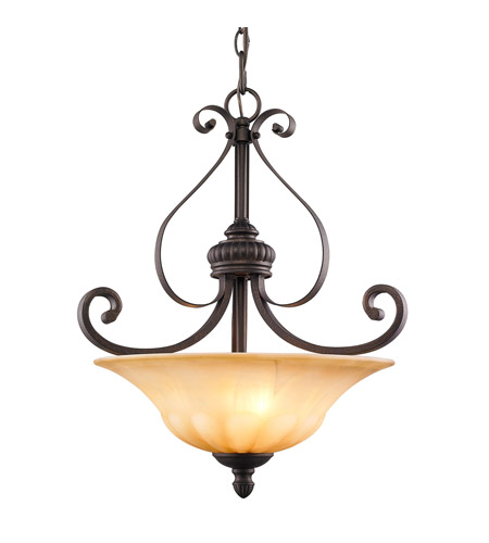 Golden Lighting 7116-3P-LC Mayfair 3 Light 18 inch Leather Crackle Pendant Ceiling Light, Bowl photo