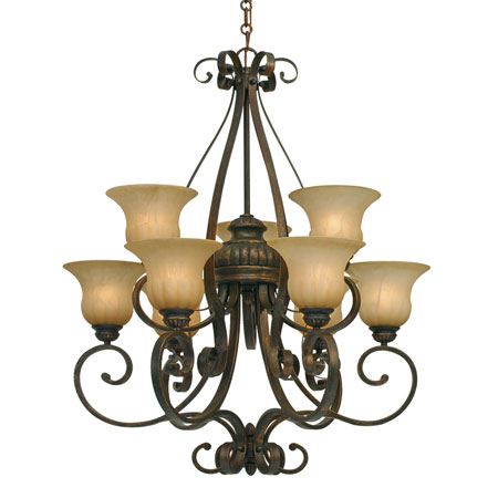 Golden Lighting Mayfair 9 Light Chandelier in Leather Crackle with Creme Brulee Glass 7116-9-LC photo