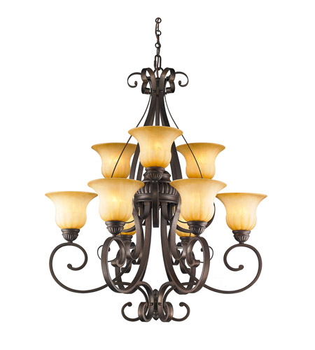 Golden Lighting Mayfair 9 Light Chandelier in Leather Crackle 7116-9-LC photo