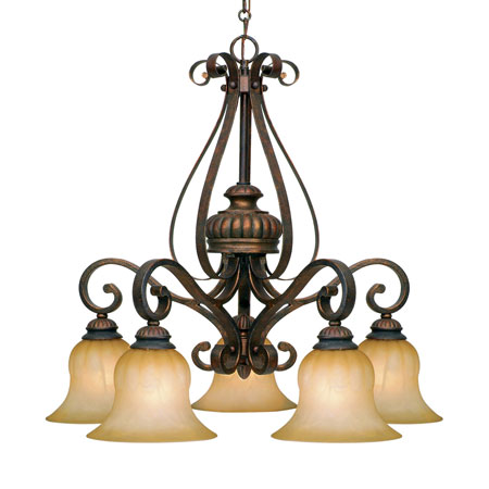 Golden Lighting Mayfair 5 Light Chandelier in Leather Crackle with Creme Brulee Glass 7116-D5-LC photo