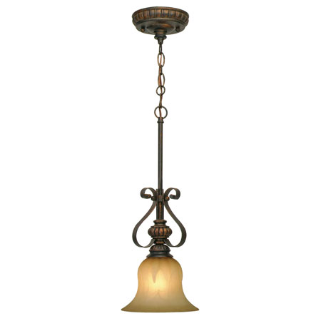 Golden Lighting Mayfair 1 Light Mini Pendant in Leather Crackle with Creme Brulee Glass 7116-M1L-LC photo