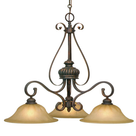 Golden Lighting Mayfair 3 Light Chandelier in Leather Crackle with Creme Brulee Glass 7116-ND3-LC photo