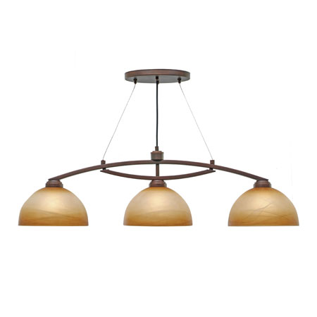 Golden Lighting Accurian 3 Light Island Light in Rubbed Bronze with Chiseled Antique Marble Glass 7158-10-RBZ photo