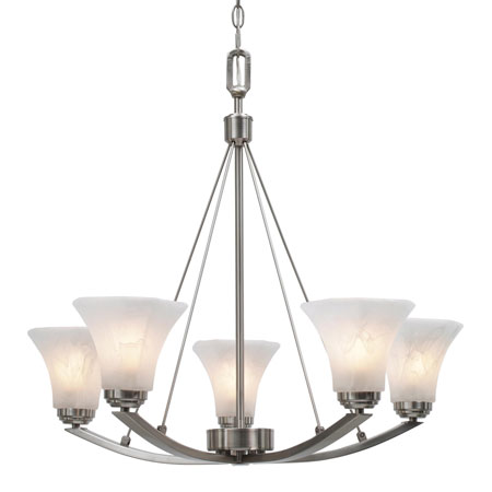 Golden Lighting Accurian 5 Light Chandelier in Pewter with Chiseled Marble Glass 7158-5-PW photo