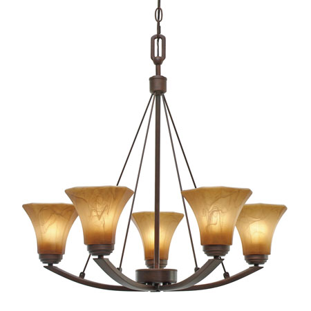 Golden Lighting Accurian 5 Light Chandelier in Rubbed Bronze with Chiseled Antique Marble Glass 7158-5-RBZ photo