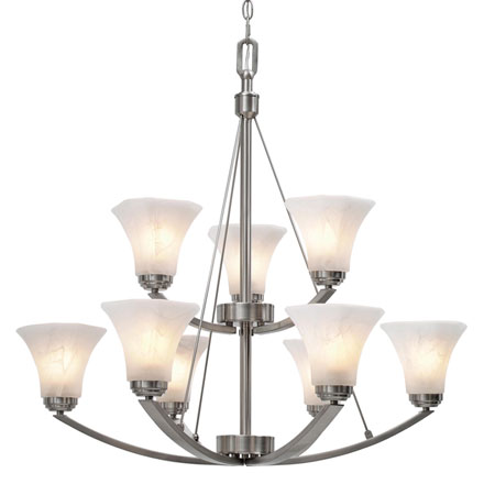 Golden Lighting Accurian 9 Light Chandelier in Pewter with Chiseled Marble Glass 7158-9-PW photo