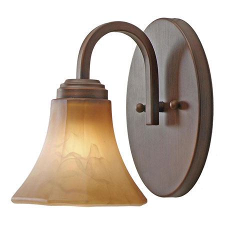 Golden Lighting Accurian 1 Light Wall Sconce in Rubbed Bronze with Chiseled Antique Marble Glass 7158-BA1-RBZ photo