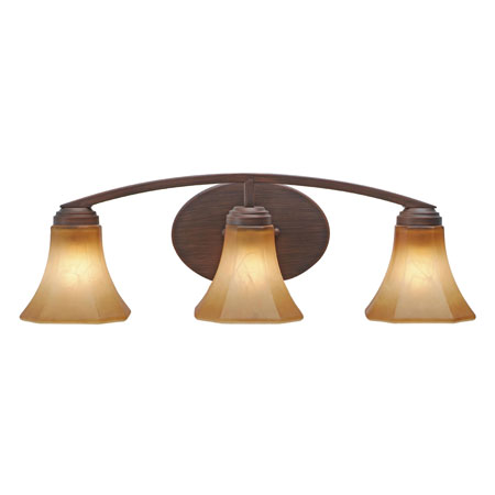 Golden Lighting Accurian 3 Light Bath Fixture in Rubbed Bronze with Chiseled Antique Marble Glass 7158-BA3-RBZ photo