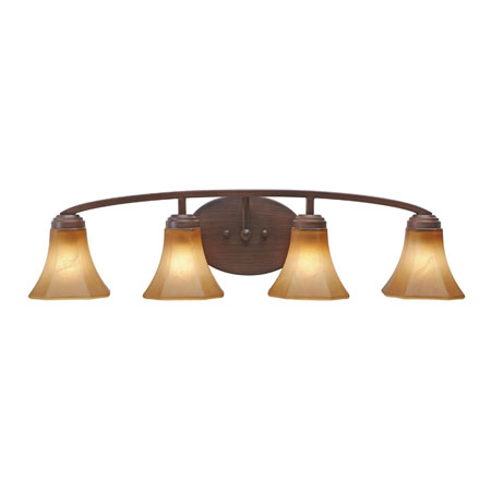 Golden Lighting Accurian 4 Light Bath Fixture in Rubbed Bronze with Chiseled Antique Marble Glass 7158-BA4-RBZ photo