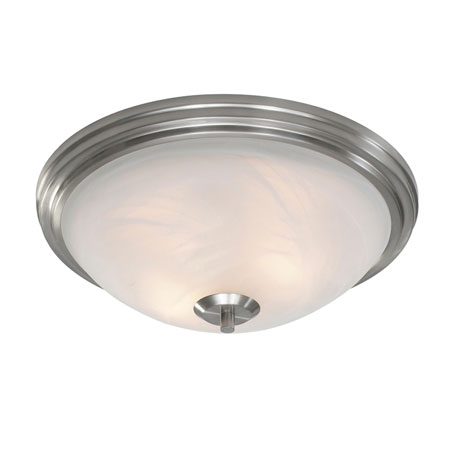 Golden Lighting Accurian 2 Light Flush Mount in Pewter with Chiseled Marble Glass 7158-FM-PW photo