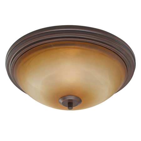 Golden Lighting Accurian 2 Light Flush Mount in Rubbed Bronze with Chiseled Antique Marble Glass 7158-FM-RBZ photo