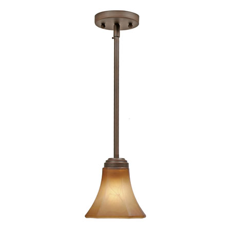 Golden Lighting Accurian 1 Light Mini Pendant in Rubbed Bronze with Chiseled Antique Marble Glass 7158-M1L-RBZ photo