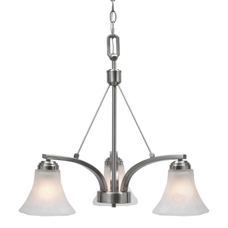 Golden Lighting Accurian 3 Light Chandelier in Pewter with Chiseled Marble Glass 7158-ND3-PW photo