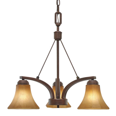 Golden Lighting Accurian 3 Light Chandelier in Rubbed Bronze with Chiseled Antique Marble Glass 7158-ND3-RBZ photo