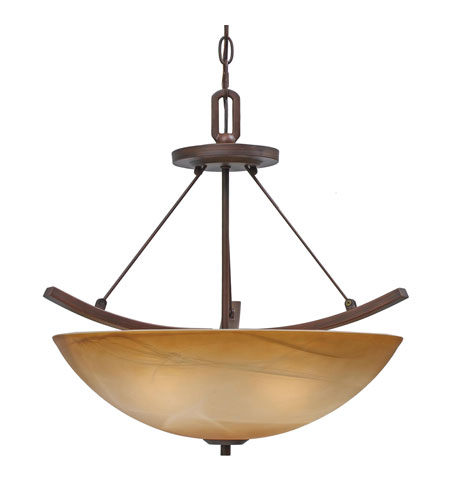 Golden Lighting Accurian 3 Light Convertible Semi-Flush in Rubbed Bronze with Chiseled Antique Marble Glass 7158-SF-RBZ photo
