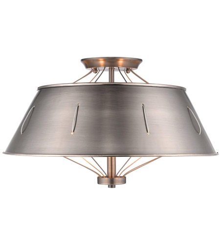 Golden Lighting Aged Steel Semi-Flush Mounts
