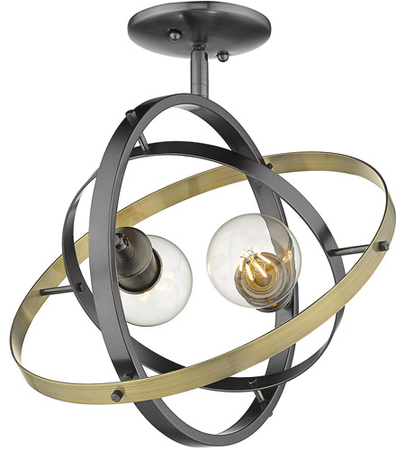 Golden Lighting 7936-SF-BS-BS-AB Atom 2 Light 14 inch Brushed Steel and Aged Brass Semi-Flushmount Ceiling Light photo thumbnail