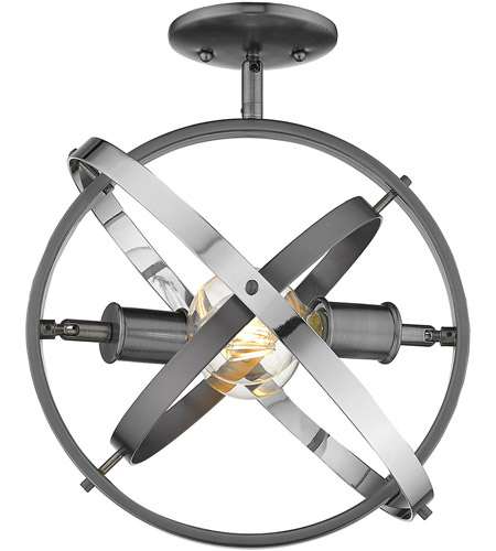 Golden Lighting 7936-SF-BS-BS-CH Atom 2 Light 14 inch Brushed Steel and Chrome Semi-Flushmount Ceiling Light alternative photo thumbnail