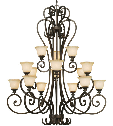 Golden Lighting Heartwood 15 Light Chandelier in Burnt Sienna 8063-15L-BUS photo