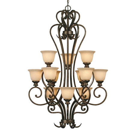 Golden Lighting Heartwood 12 Light Chandelier in Burnt Sienna with Tea Stone Glass 8063-363-BUS photo