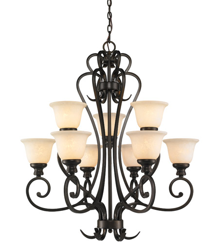 Golden Lighting 8063-9-BUS Heartwood 9 Light 33 inch Burnt Sienna Chandelier Ceiling Light, 2 Tier photo