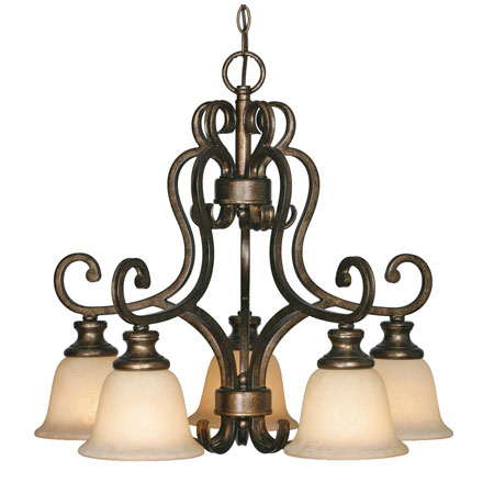 Golden Lighting Heartwood 5 Light Chandelier in Burnt Sienna with Tea Stone Glass 8063-D5-BUS photo