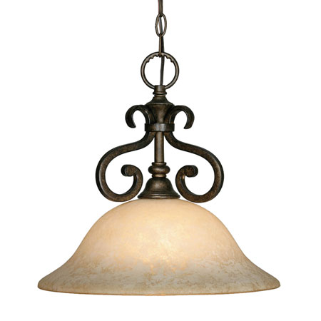 Golden Lighting Heartwood 1 Light Pendant in Burnt Sienna with Tea Stone Glass 8063-NK1-BUS photo