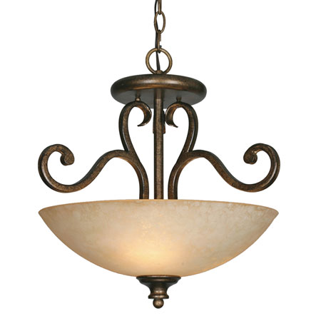 Golden Lighting Heartwood 3 Light Convertible Semi-Flush in Burnt Sienna with Tea Stone Glass 8063-SF-BUS photo
