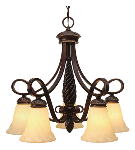 Golden Lighting 8106-D5-CDB Torbellino 5 Light 24 inch Cordoban Bronze Nook Chandelier Ceiling Light photo