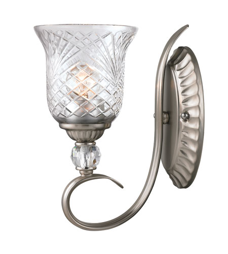 Golden Lighting Alston Place 1 Light Wall Sconce in Pewter with Iced Crystal Glass 8118-1W-PW photo