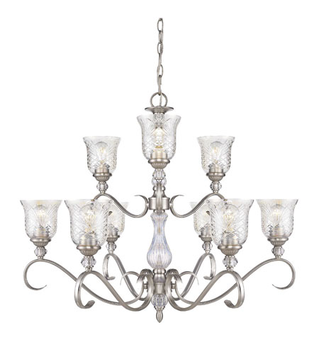Golden Lighting Alston Place 9 Light Chandelier in Pewter with Iced Crystal Glass 8118-9-PW photo