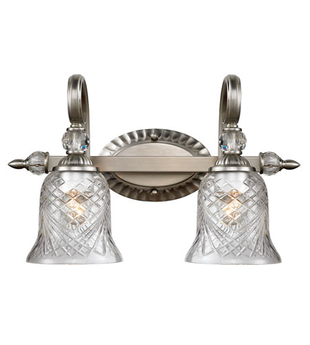 Golden Lighting Alston Place 2 Light Bath Fixture in Pewter with Iced Crystal Glass 8118-BA2-PW photo