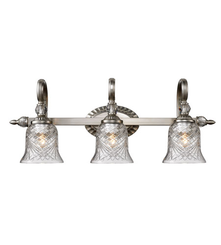 Golden Lighting 8118-BA3-PW Alston Place 3 Light 27 inch Pewter Bath Vanity Wall Light in Iced Crystal Glass photo