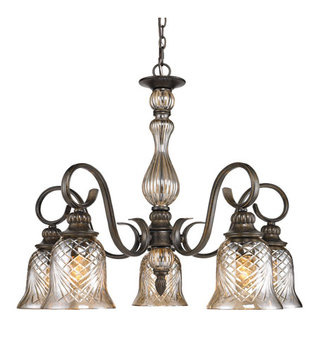 Golden Lighting Alston Place 5 Light Chandelier in Burnt Sienna with Heirloom Crystal Glass 8118-D5-BUS photo