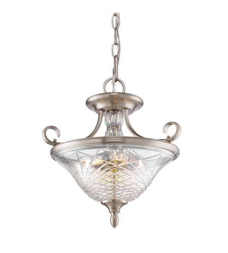 Golden Lighting 8118-SF-PW Alston Place 3 Light 17 inch Pewter Semi-Flush Ceiling Light in Iced Crystal Glass, Convertible  photo