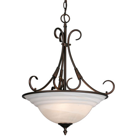 Golden Lighting Homestead Ridge 3 Light Bowl Pendant in Rubbed Bronze with Ridged Marbled Glass 8505-3P-RBZ photo
