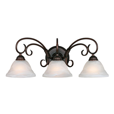 Golden Lighting Homestead Ridge 3 Light Bath Fixture in Rubbed Bronze with Ridged Marbled Glass 8505-3W-RBZ photo