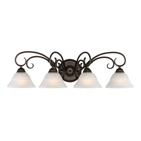 Golden Lighting Homestead Ridge 4 Light Bath Fixture in Rubbed Bronze with Ridged Marbled Glass 8505-4W-RBZ photo