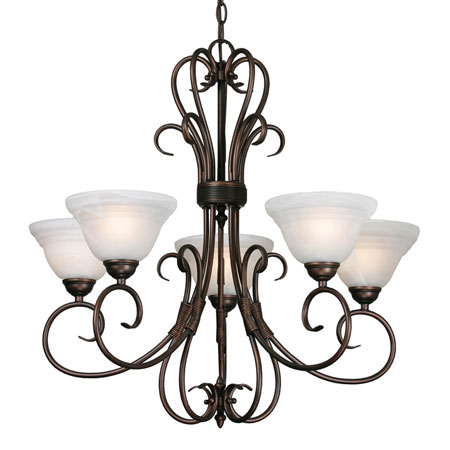Golden Lighting Homestead Ridge 5 Light Chandelier in Rubbed Bronze with Ridged Marbled Glass 8505-5-RBZ photo