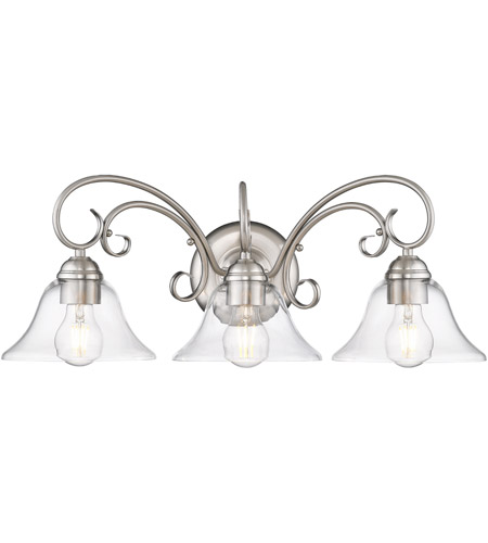 Golden Lighting 8606 Ba3 Pw Clr Homestead 3 Light 24 Inch Pewter Bath Fixture Wall In Clear Gl