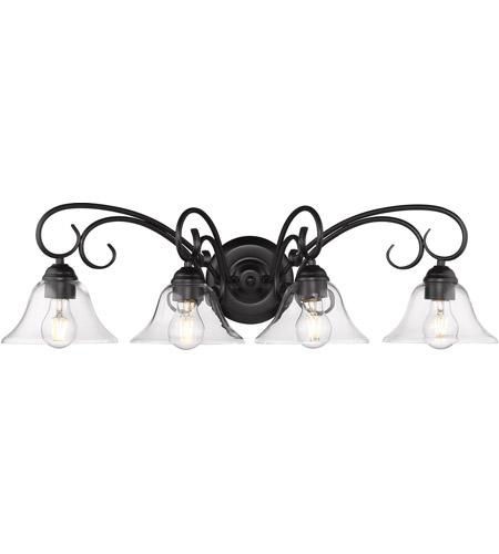 Homestead 4 Light 32 Inch Black Bath Fixture Wall In Clear Gl