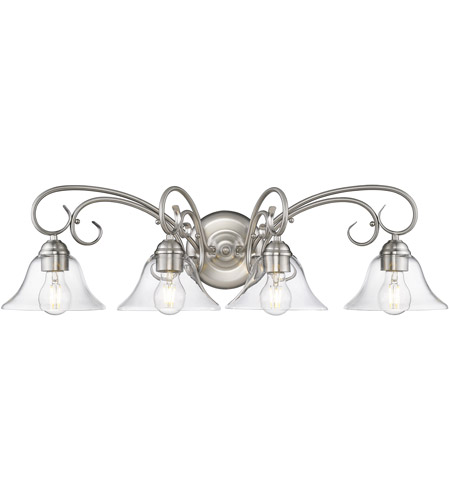 Golden Lighting 8606 Ba4 Pw Clr Homestead 4 Light 32 Inch Pewter Bath Fixture Wall In Clear Gl