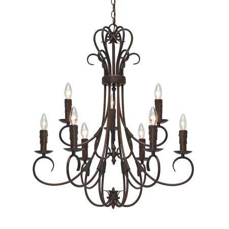 Golden Lighting Homestead 9 Light Chandelier in Rubbed Bronze with Drip Candlesticks 8606-CN9-RBZ photo