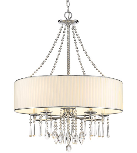 Golden Lighting 8981-5-BRI Echelon 5 Light 26 inch Chrome Chandelier Ceiling Light in Bridal Veil Shade photo