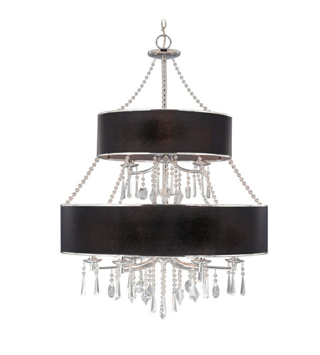 Golden Lighting 8981-9-GRM Echelon 9 Light 32 inch Chrome Chandelier Ceiling Light in Tuxedo Shade, 2 Tier photo