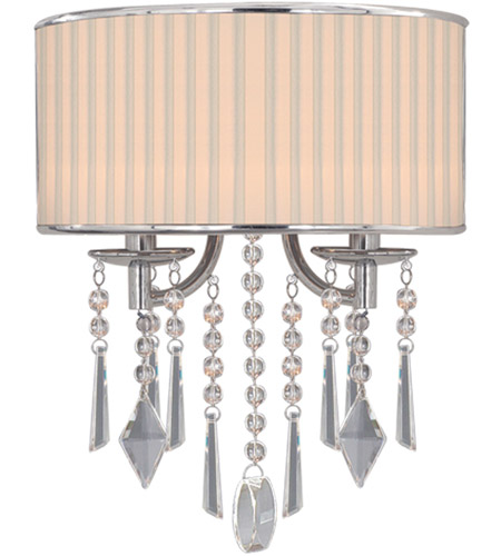 Golden Lighting 8981-WSC-BRI Echelon 2 Light 12 inch Chrome Wall Sconce Wall Light in Bridal Veil Shade photo