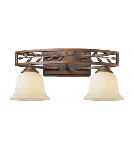 Golden Lighting Woodbriar 2 Light Bath Fixture in Sovereign Bronze with Tea Stone Glass 8995-BA2-SBZ photo