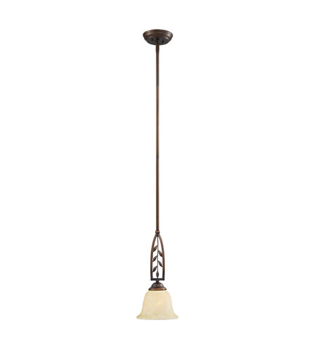 Golden Lighting Woodbriar 1 Light Mini Pendant in Sovereign Bronze with Tea Stone Glass 8995-M1L-SBZ photo