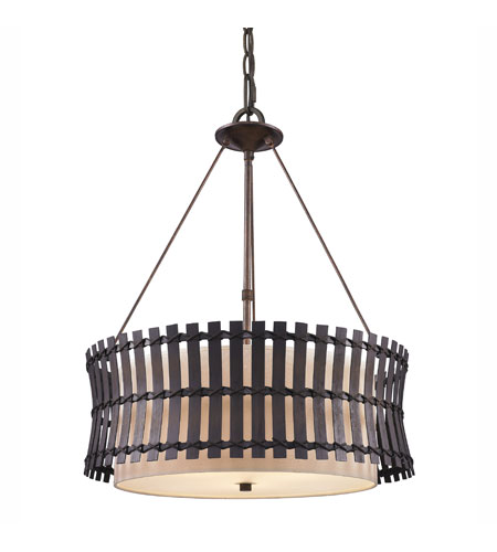 Golden Lighting Havana 3 Light Pendant in Corsini Bronze with Natural Linen Shade 9004-3P-COB photo
