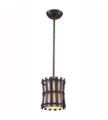 Golden Lighting Havana 1 Light Mini Pendant in Corsini Bronze with Natural Linen Shade 9004-M1L-COB photo